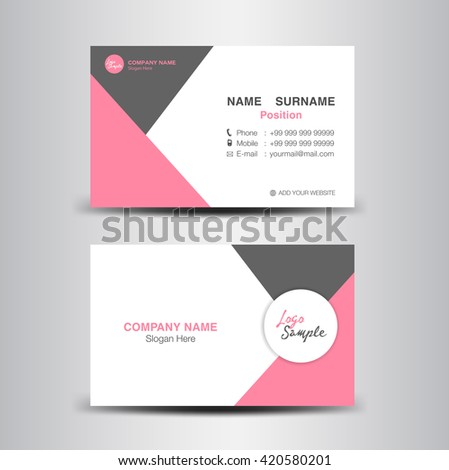 Red Business Card Vector Backgroundflyer Designpolygon Stock