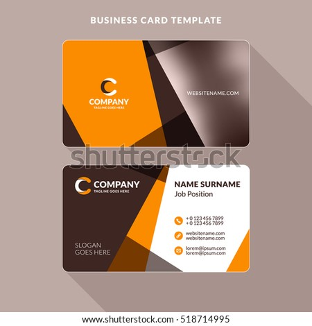 creative clean doublesided business card template stock vector 518714905 shutterstock. Black Bedroom Furniture Sets. Home Design Ideas