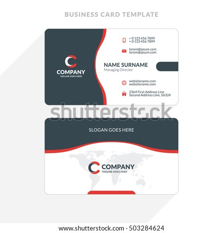 creative clean doublesided business card template stock vector 503284624 shutterstock. Black Bedroom Furniture Sets. Home Design Ideas