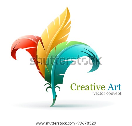 creative art concept with color red yellow and blue feathers. Vector illustration isolated on white background EPS10. Transparent objects used for shadows and lights drawing. - stock vector