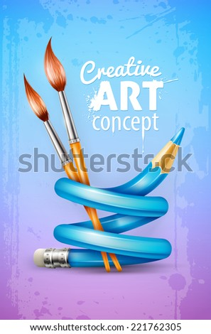 Creative art design concept with twisted pencil and brushes tools for drawing over grunge dirty pattern texture. Eps10 vector illustration. Gradient mesh used. - stock vector