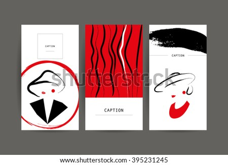 Creative artistic cards with hand drawn girl. Fashion beauty model illustration. Close up, make up, accessories. Young attractive lady in hat. Party, performance, meeting invitation. Business card. - stock vector