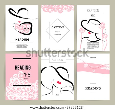Creative artistic cards hand drawn girl stock photo photo vector creative artistic cards with hand drawn girl fashion beauty model illustration close up stopboris Image collections
