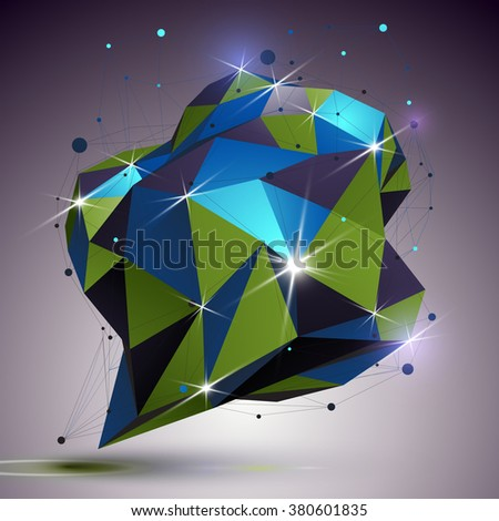 Creative asymmetric object with lines mesh. 3d colorful shiny complicated engineering abstraction with lights effect. Bright netting modeling element. - stock vector