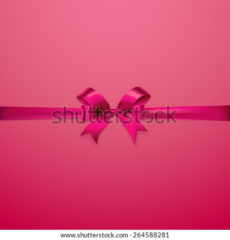Creative background with red bow and space for text. Vector illustration - stock vector