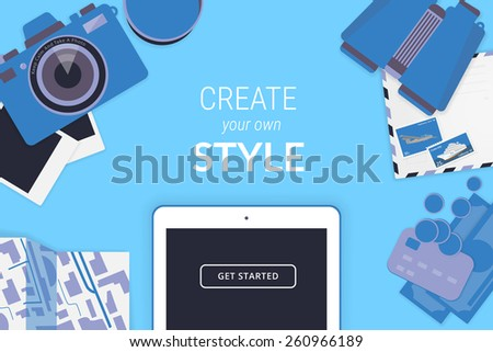 Creative background with tablet pc, camera, binoculars, map, credit card and cash - stock vector