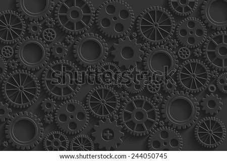 Creative black gears background. Eps10 vector for your design. - stock vector