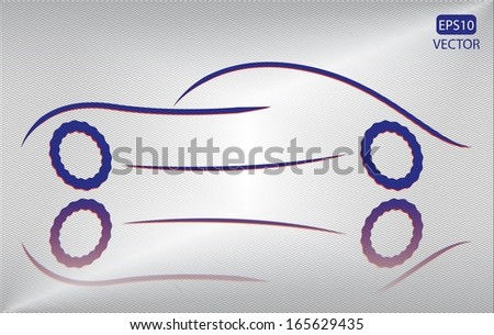Creative blue car outline on metallic background. Easy to edit eps10 vehicle vector. Blue and red transportation emblem vector.  - stock vector