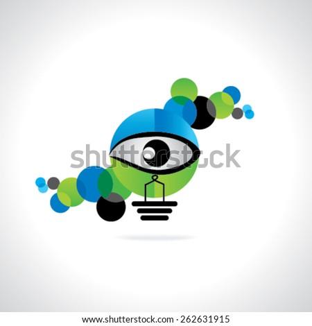creative blue green bulb vision idea concept  - stock vector