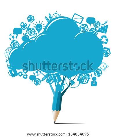Creative blue pencil design with cloud blank vector - stock vector