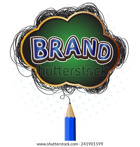 Creative blue pencil drawing brand concept symbol - stock vector