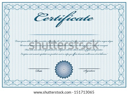 Creative blue vintage certificate with text. Editable isolated vector design. - stock vector