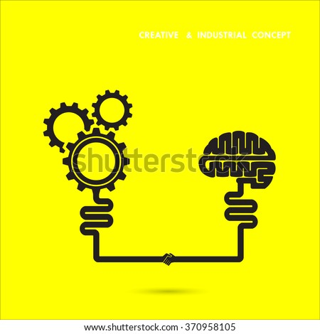Creative brain and industrial concept.Brain and gear icon. brainstorm concept business and education idea, innovation and solution, creative design.Vector illustration - stock vector