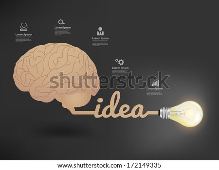 Creative brain and light bulb Idea concept, World creative inspiration concept modern design template workflow layout, diagram, step up options, Vector illustration - stock vector