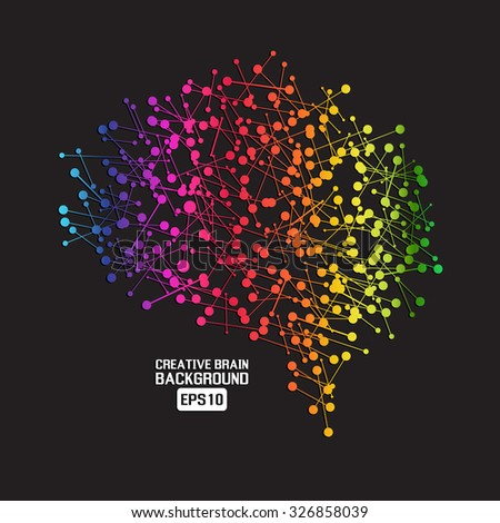 Creative brain colorful background - stock vector