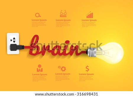 Creative brain Idea concept, Vector illustration modern design template - stock vector