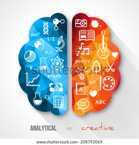 Creative brain Idea. Vector concept.  Sciences and arts. Back to school icons. Left and right brain functions. - stock vector
