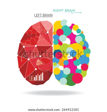 Creative brain Idea. Vector concept. Sciences and arts. Left and right brain functions. - stock vector