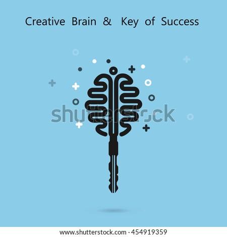 Creative brain logo with key logo. Key of success concept.Inspiration or innovation idea.Key and brain logo design.Business and education idea concept.Vector illustration. - stock vector