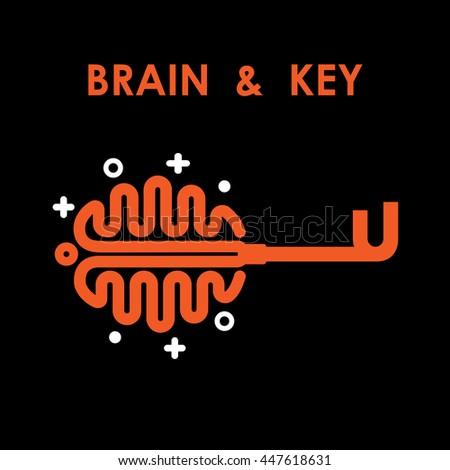 Creative brain logo with key symbol. Key of success.Concept of ideas inspiration, innovation, invention.Key Logo.Brain Logo.Bulb Logo.Business and education idea concept.Vector illustration. - stock vector