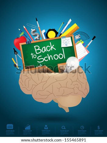 Creative brain mixed idea concept, Vector illustration modern template design - stock vector