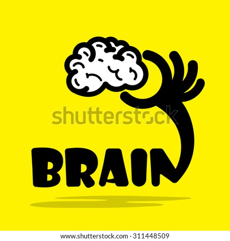 Creative brain sign idea,flat design.Concept of ideas inspiration, innovation, invention, effective thinking, knowledge and education. Business and concept and businessman hand.Vector illustration - stock vector