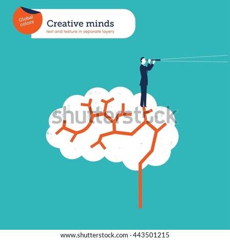 Creative brain. Vector illustration Eps10 file. Global colors. Text and Texture in separate layers. - stock vector