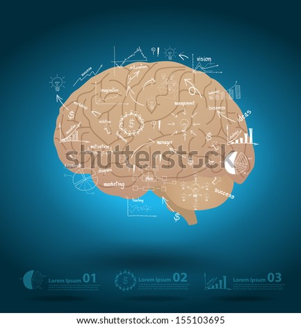 Creative brain with drawing business strategy plan concept idea, Vector illustration Modern template Design - stock vector