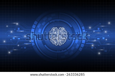 creative brain working digital concept abstract background - stock vector