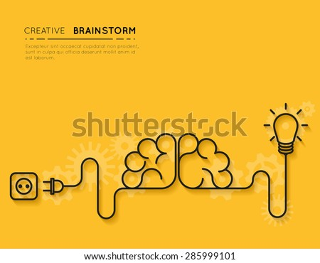 Creative brainstorm concept business idea, innovation and solution, creative design, vector illustration - stock vector