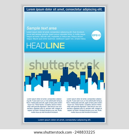 Creative Brochure Template Design for Real Estate. Abstract  Vector Flyer, Pamphlet, Leaflet layout for marketing, advertising and Flat style web site banners, Posters, Placards. Cityscape background. - stock vector