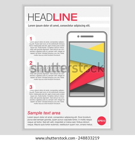 Creative Brochure Template Design with Smartphone for mock up. Abstract  Vector Flyer, Pamphlet, Leaflet layout for marketing, advertising and Flat style web site banners.  - stock vector