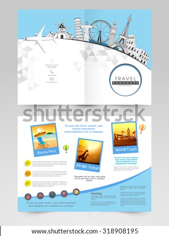 Creative Brochure, Template or Flyer design with illustration of famous monuments for Tour and Travels. - stock vector