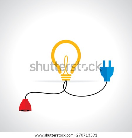 creative bulb connected with electric pin and plug idea concept vector illustration - stock vector