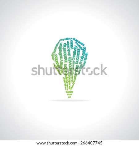 creative bulb created with many words motivation, business  - stock vector