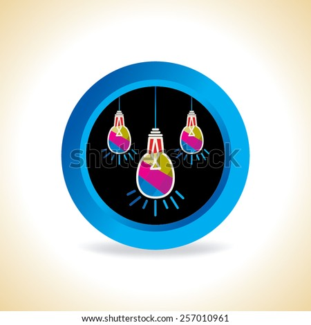 creative bulb inside of blue circle idea concept  - stock vector