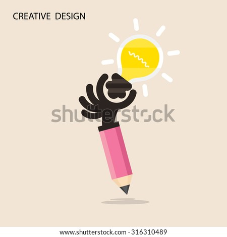 Creative bulb light idea and pencil hand icon,flat design.Concept of ideas inspiration, innovation, invention, effective thinking. Business ,knowledge and education concept.Vector illustration - stock vector