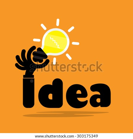 Creative bulb light idea,flat design.Concept of ideas inspiration, innovation, invention, effective thinking, knowledge and education. Business and concept and businessman hand.Vector illustration - stock vector
