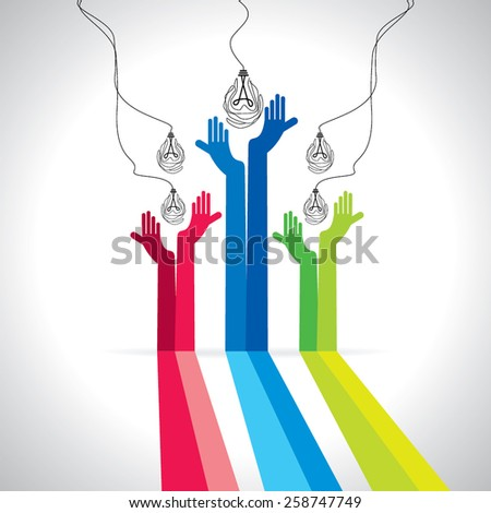 creative bulb with caring in hands - stock vector