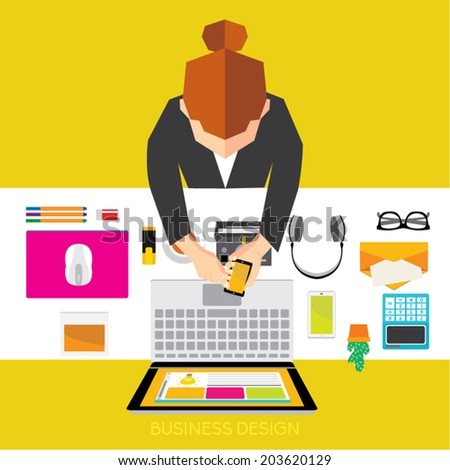 Creative Business and Office Conceptual Vector Design - stock vector