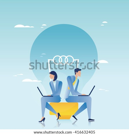 Creative business. Business people working on laptop - stock vector