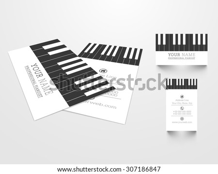 Creative business card set illustration piano stock vector royalty creative business card set with illustration of piano keys for music concept reheart Image collections