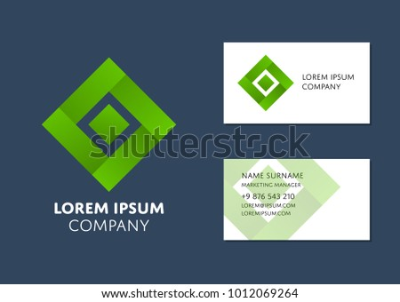 Creative business card template green square stock photo photo creative business card template with green square logo name work position phone flashek Image collections