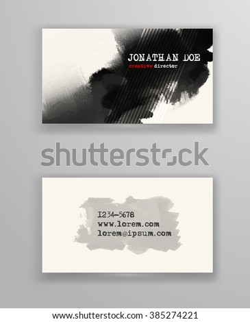 Creative business card templates with minimalistic design. Abstract black ink brush strokes. Vector Illustration. - stock vector