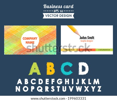 Creative business card with different design elements. Alphabet, pencil, pencil sketch, sketches, doodles. Vector illustration. Used for in web design, postcards and design of corporate style - stock vector
