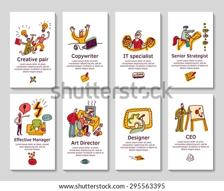 Creative business cards and banners. Funny icons. Color vector illustration. Eps 8.