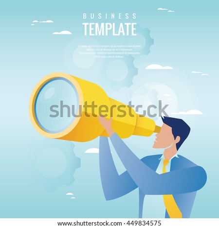 Creative business concept. Businessman holding spyglass, business visionary - stock vector