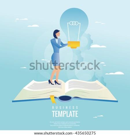 Creative business concept. Businesswoman holding light bulb - stock vector