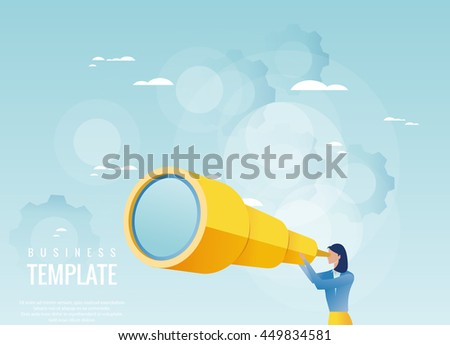 Creative business concept. Businesswoman holding spyglass, business visionary - stock vector