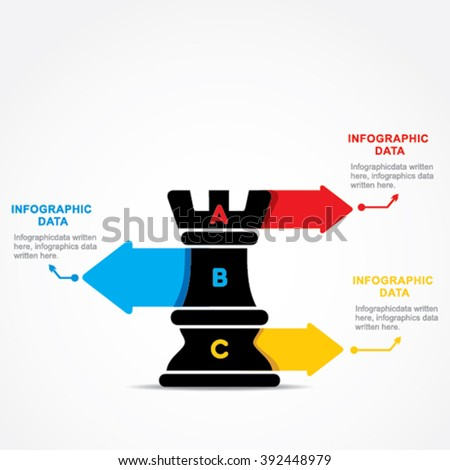 creative business info-graphic by chess rook design vector - stock vector